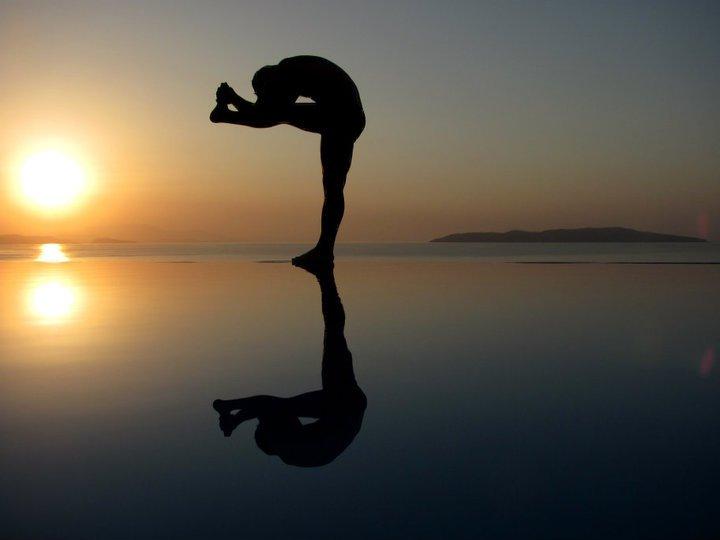 Bikram yoga at the pool